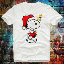 Load image into Gallery viewer, Snoopy Peanut Christmas Santa Dog Xmas ideal gift Tee Top Unisex  T Shirt