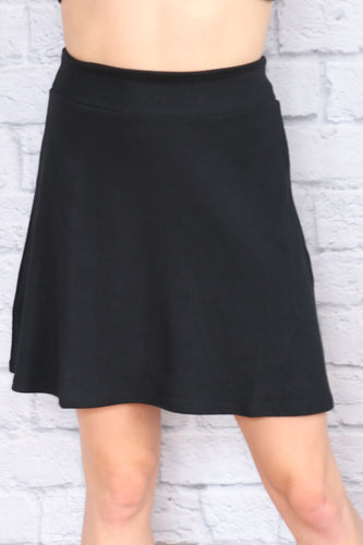 A-Line Skirt - Black Rib Knit