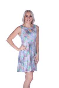 Spring Patchwork Keyhole Dress