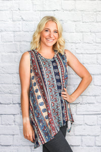Braided Neck Sleeveless Tunic