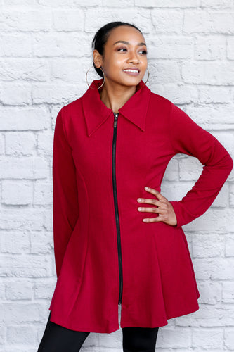 Red Edgy Executive Zip up Jacket