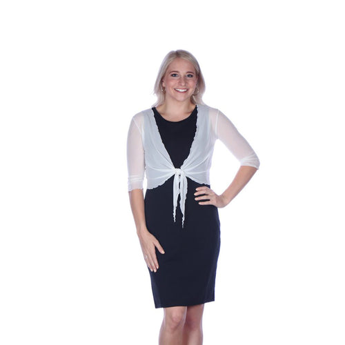 Short Tie-Front Mesh Shrug Black or White