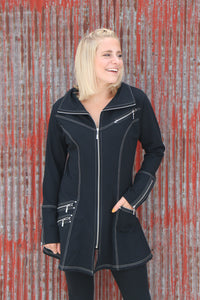 Pure Black All Zipped Up Jacket