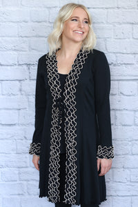 Ruffled Cardigan with Tie Front