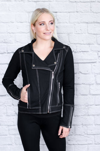Black French Terry Moto Jacket