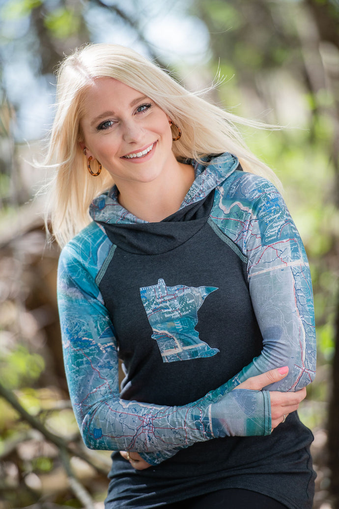 Map of Minnesota Hoodie with Applique