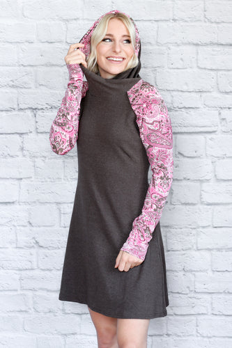 Pink Paisley Classic Hoodie Dress