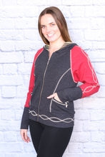 Load image into Gallery viewer, Rib Knit Shorter Zip Hoodie