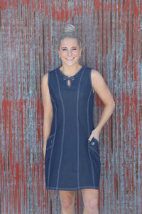 Denim Grommet Dress