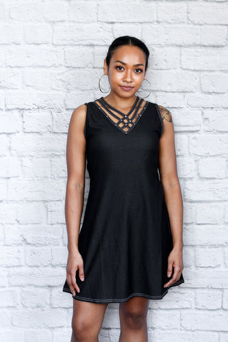 Studded Strappy V-Neck Dress