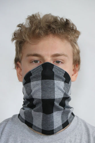 ComfyFace Gaiter - Men's L Gray Black Check