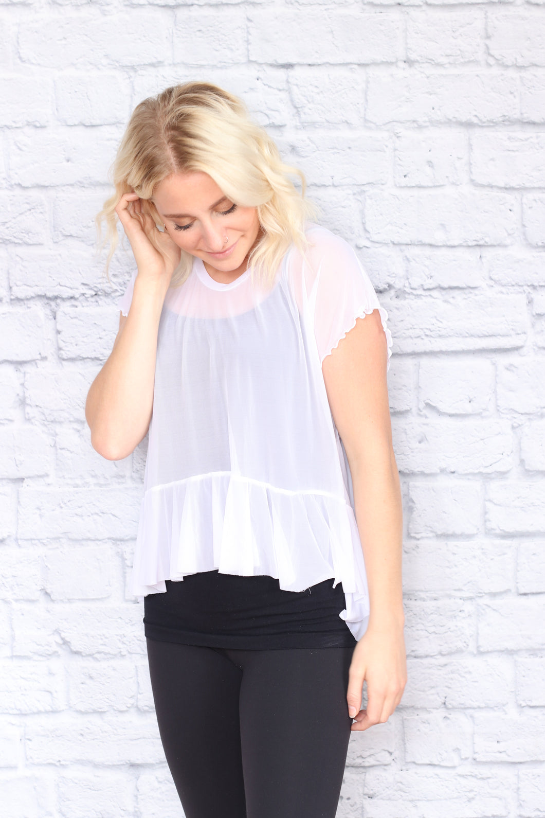 Cropped Mesh Peplum Top