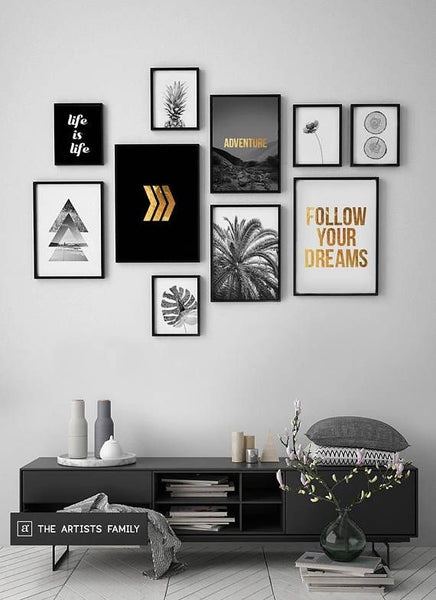 Home Decorating Ideas Bedroom Downloadable Prints Set of 10 Minimalist Minimal Pineapple Boho Art Walls Gold M…