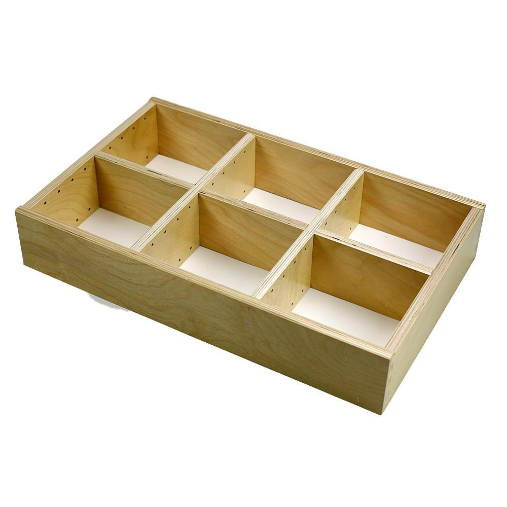 Adjustable wood organizer insert, 6 section