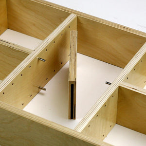 "2 Section Adjustable Divider (up to 6 cubicles) organizer insert.  Interior Drawer Dimension Range: Width 12"" to 24'"", Depth 16 1/16"" to 21"", Height 2"" to 6""."