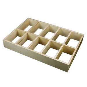 "5 Section Adjustable Divider (up to 15 cubicles) organizer insert.  Interior Drawer Dimension Range: Width 24 1/16"" to 36"", Depth 16 1/16"" to 21"", Height 2"" to 6""."