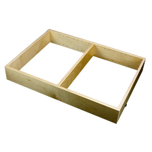 "1 Section Adjustable Divider (up to 3 cubicles) organizer insert.  Interior Drawer Dimension Range: Width 12"" to 24'"", Depth 16 1/16"" to 21"", Height 2"" to 6""."