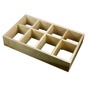 "4 Section Adjustable Divider (up to 12 cubicles) organizer insert.  Interior Drawer Dimension Range: Width 12"" to 24', Depth 8"" to 16"", Height 2"" to 6""."