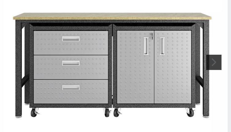 Manhattan Comfort Fortress 3 Piece Set and Worktable 3.0
