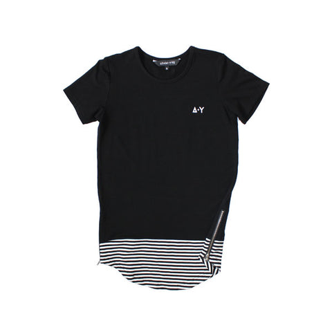 Black Long Line Zip Tee