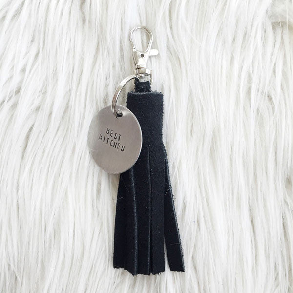 Black Suede Tassel Keychain + Personalized Tag