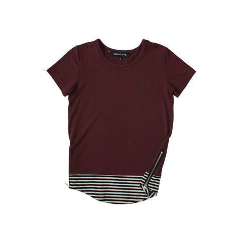 Burgundy Long Line Zip Tee