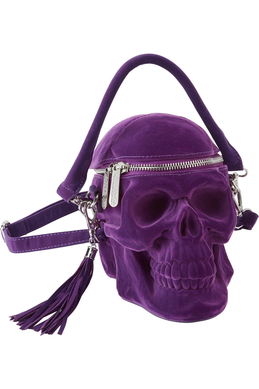 Killstar Grave Digger Plum Velvet Skull Handbag - Kate's Clothing
