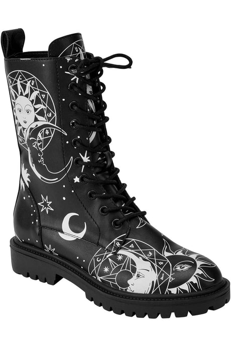 Killstar Astral Light Combat Boots - Kate's Clothing