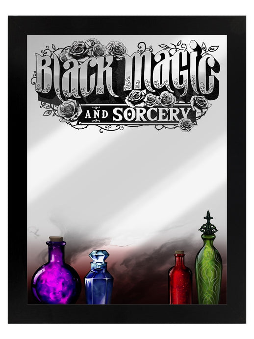 Framed Mirrored Tin Sign - Black Magic And Sorcery