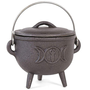 Gothic Gifts Cast Iron Triple Moon 11cm Cauldron - Kate's Clothing