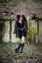 Load image into Gallery viewer, Necessary Evil Selene Velvet Dress with Bat Wing Effect - Kate's Clothing