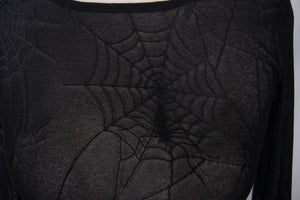 Devil Fashion Plus Size Web Pattern Mesh Top - Kate's Clothing