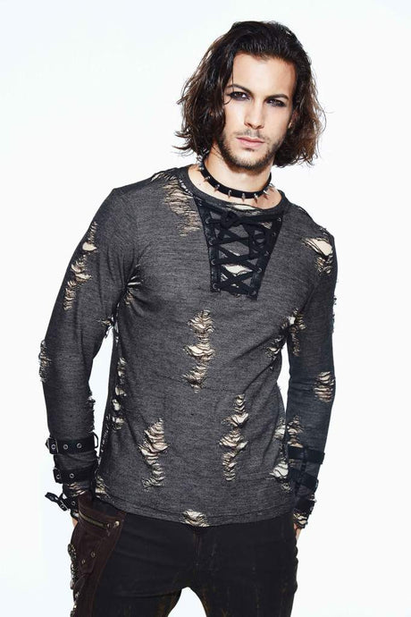 Devil Fashion Mens Distressed Long Sleeve Top