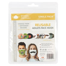 Load image into Gallery viewer, Gothic Gifts Reusable Adult Face Mask - Mustache Face - Kate's Clothing