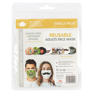 Gothic Gifts Reusable Adult Face Mask - Mustache Face - Kate's Clothing