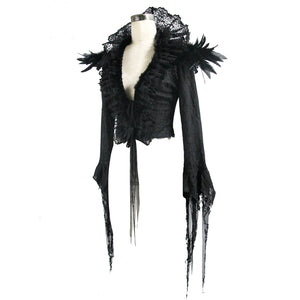Eva Lady Feather & Lace Gothic Jacket - Kate's Clothing