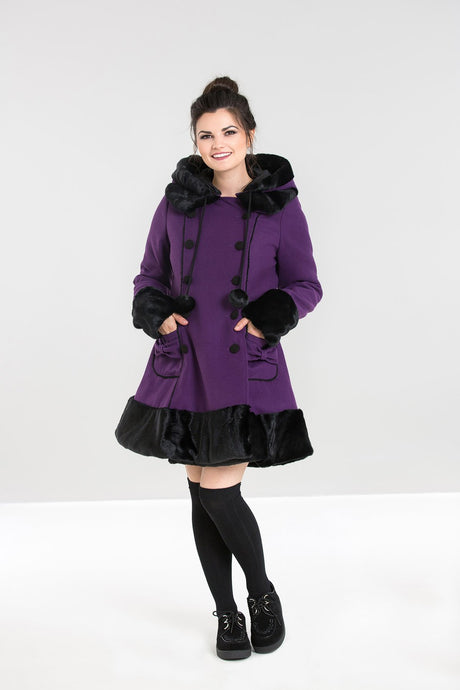 Hell Bunny Sarah Jane Coat - Purple - Kate's Clothing