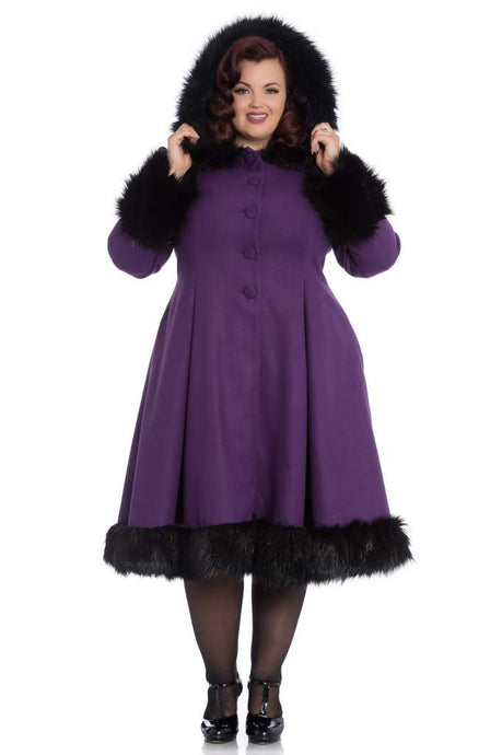 Hell Bunny Plus Size Elvira Coat - Purple - Kate's Clothing