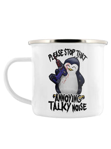 Psycho Penguin Stop That Noise Enamel Mug - Kate's Clothing