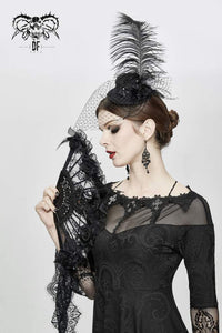 Devil Fashion Feather and Rose Fascinator - Kate's Clothing
