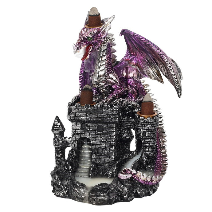 Gothic Gifts Purple Dragon On Castle Backflow Incense Burner