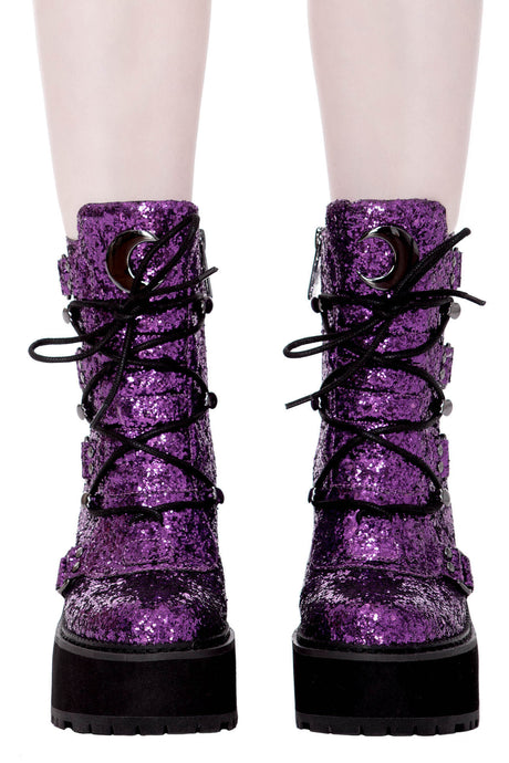 Killstar Purple Glitter Broom Rider Boots - Kate's Clothing