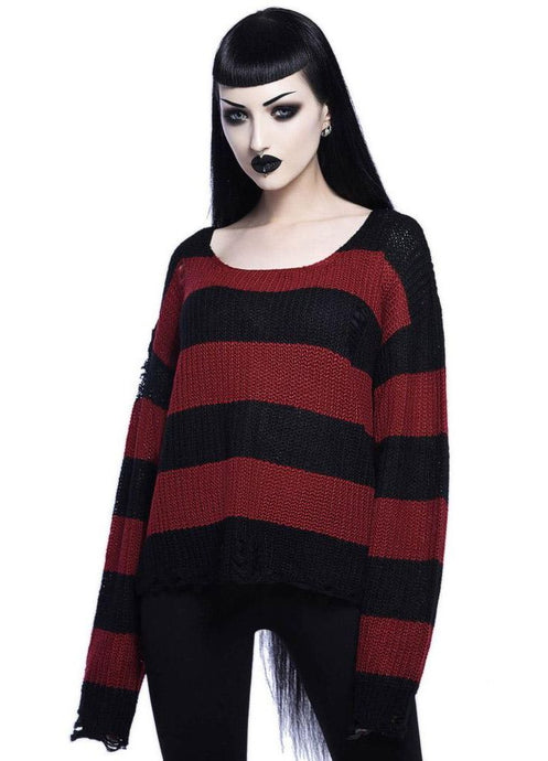 Killstar Casey Knit Blood Red Sweater - Kate's Clothing
