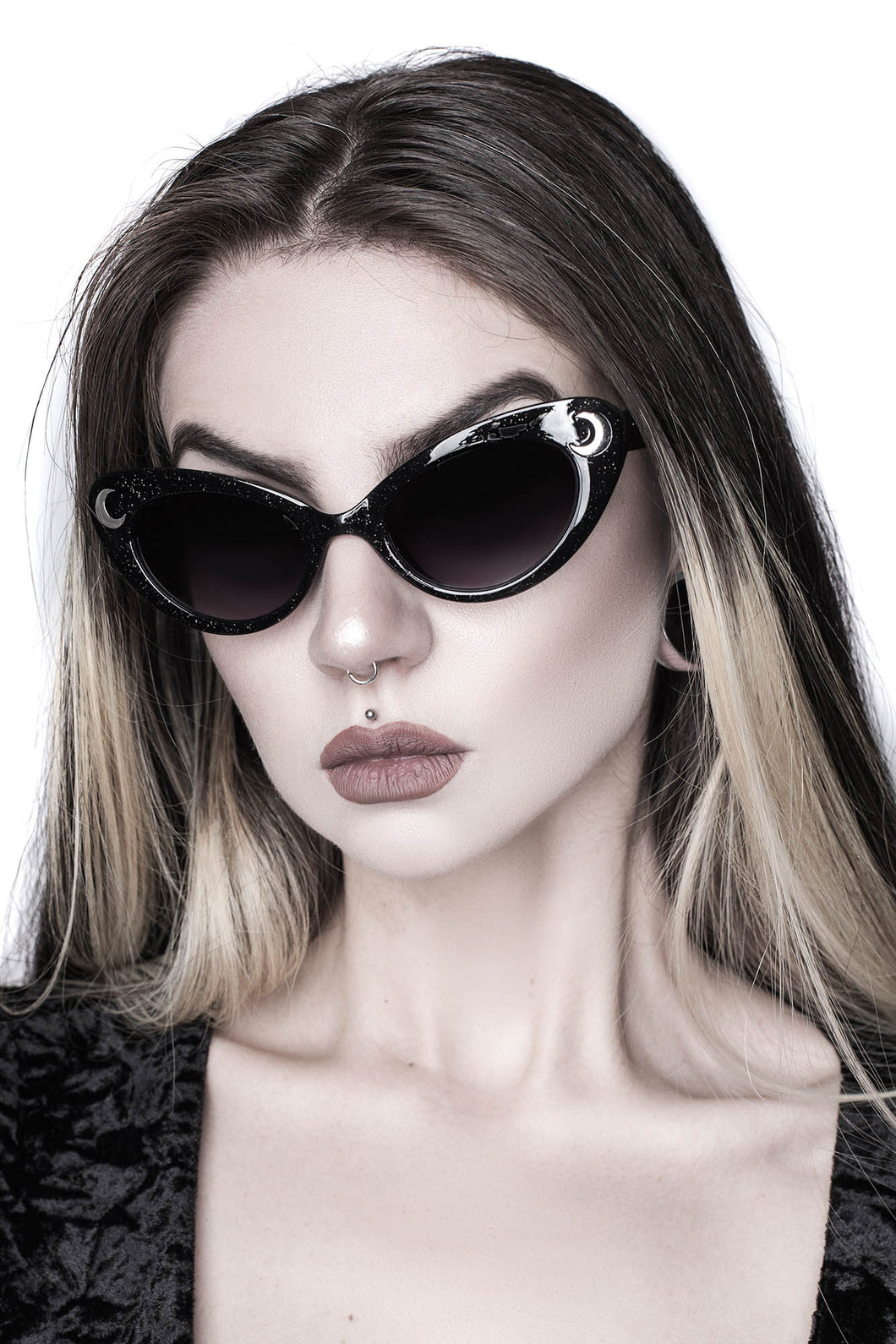 Killstar Cosmic Shade Black Glitter Sunglasses - Kate's Clothing