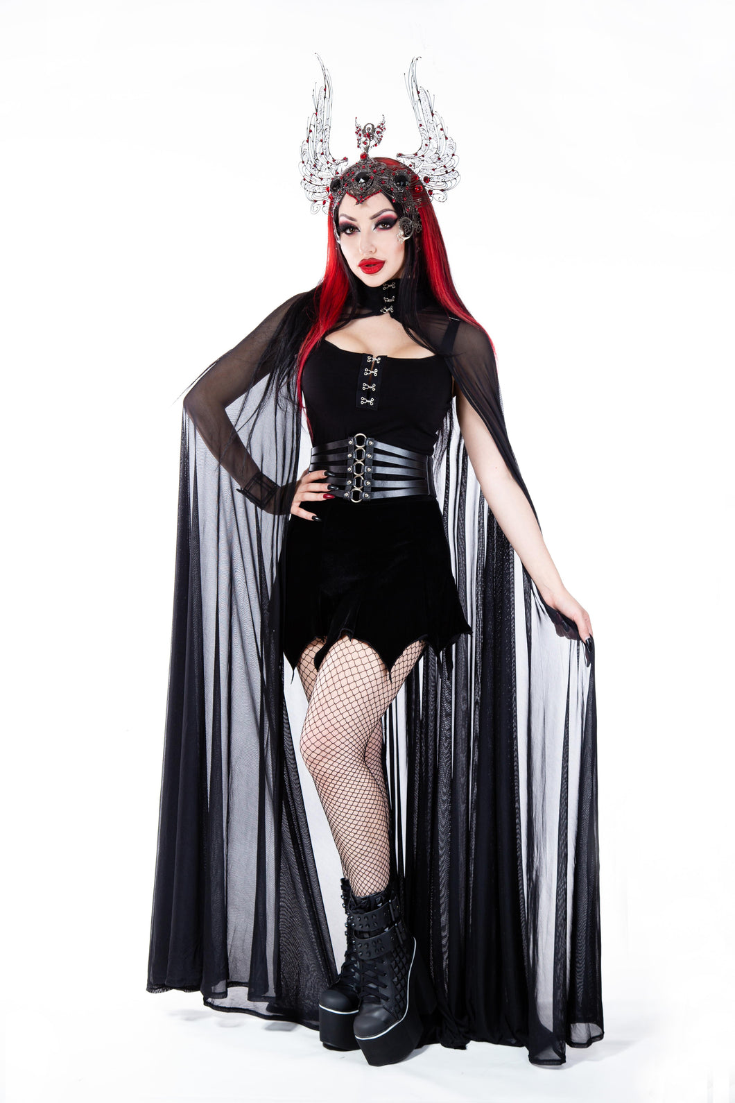 Necessary Evil Clio Mesh Cape - Kate's Clothing