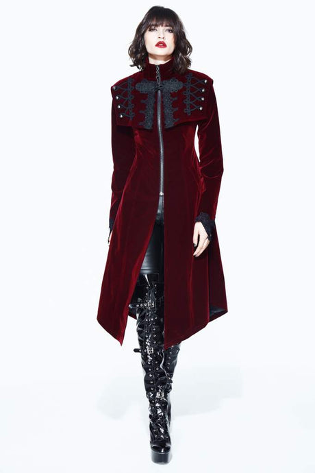 Devil Fashion Dravenia Velvet Coat - Kate's Clothing