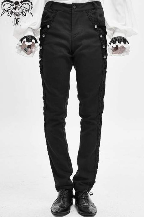 Devil Fashion Mens Flocked Brocade Jeans - Kate's Clothing