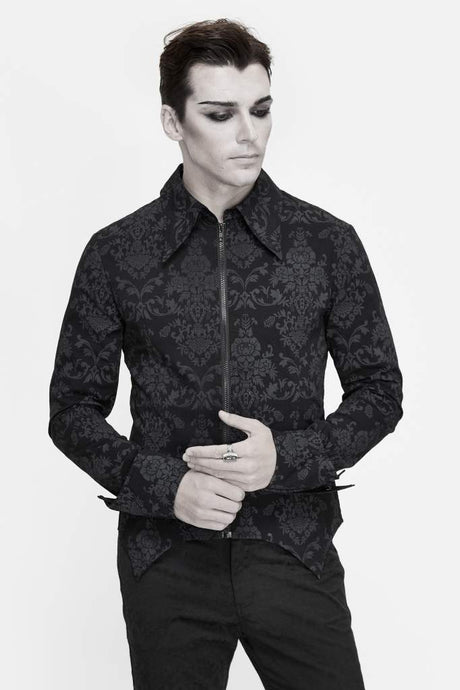 Devil Fashion Mens Jacquard Zip Shirt - Kate's Clothing