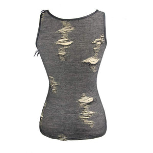 Devil Fashion Distressed Vest Top - Kate's Clothing