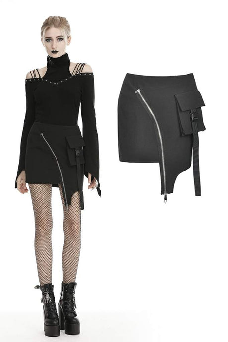 Dark In Love Clio Asymmetric Mini Skirt - Kate's Clothing